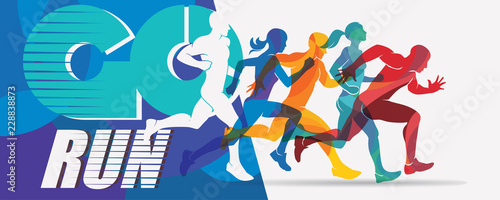 Fototapeta running people set of silhouettes, sport and activity  background obraz