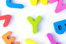 Y Letters In English Made From Wood Bright Colors.