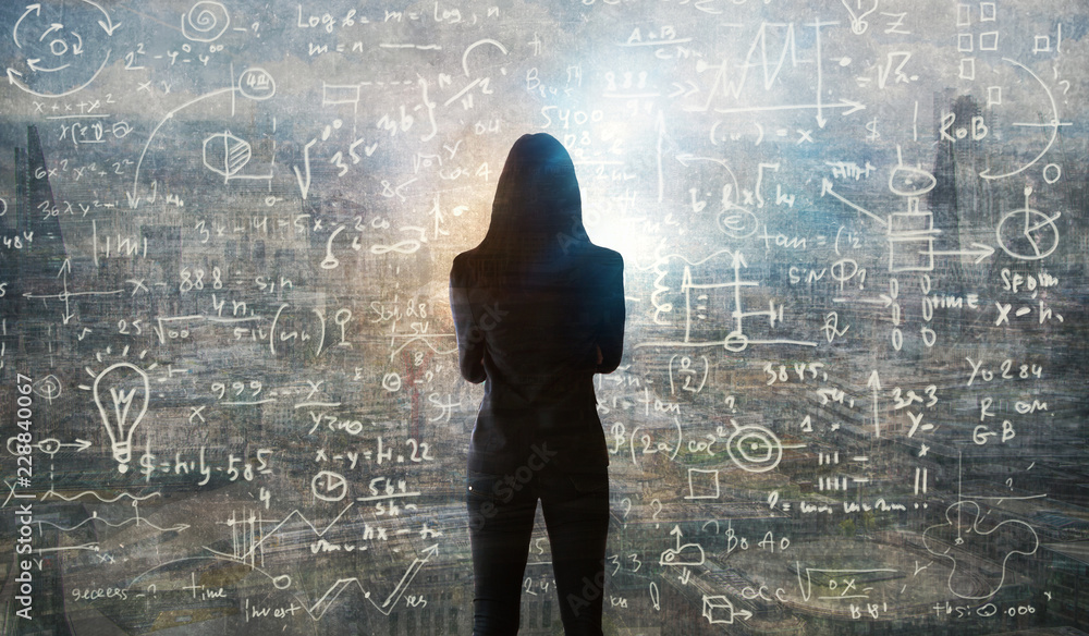 Fototapety, obrazy: Young woman looking on the black board with mathematical formulas and calculations. Bright idea, way of thinking, discovery and challenge concept.