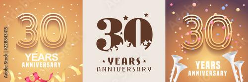 Fotografía 30 years anniversary set of vector icon, symbol