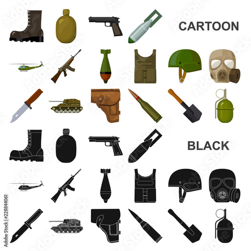 Army and armament cartoon icons in set collection for design Wallpaper Mural