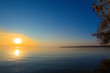 canvas print picture landscape - sunset on the coast, waves, horizon. top view.