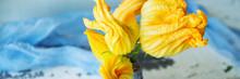 Banner Beautiful Yellow Pumpkin Flower On A Blue Wooden Surface