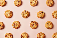 Fresh Chocolate Chip Cookies Pattern On Pink Background