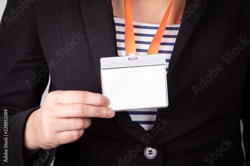 Obraz na płótnie White empty staff identity mockup with orange lanyard