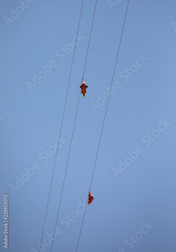 adventure sport - zipline slide down Jebel Jais mountain