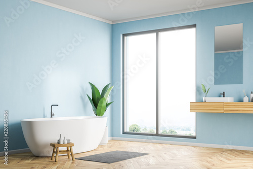 Pinturas sobre lienzo  Blue bathroom corner, sink and tub