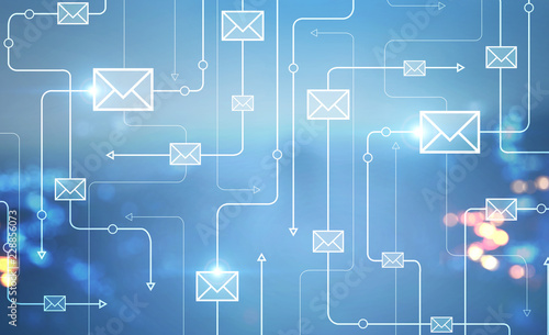 Email icons in blurred night city