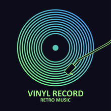 Vinyl Record. Music Poster With Vinyl Disc. Design For Musical Cover Or Logo. Vector Illustration.
