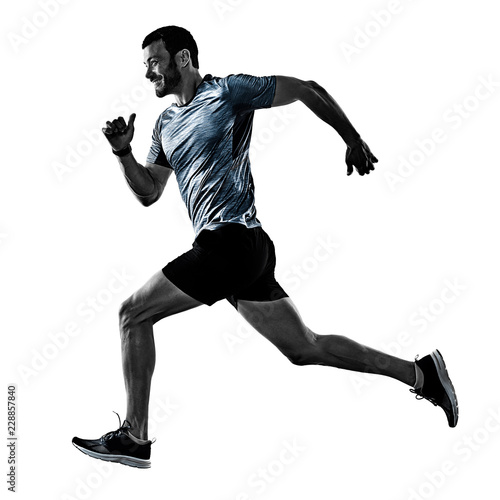 one caucasian man runner jogger running jogging isolated on white background wit Canvas Print