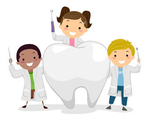 Stickman Kids Little Dentist Tooth Illustration