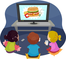Stickman Kids Watch Fast Food Junk Food Commercial
