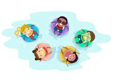 Stickman Kids Pool Float Illustration