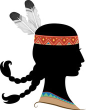 Silhouette Girl Native American Indian