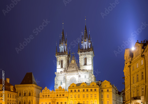 Photo  Night time illuminations of the fairy tale Church of our Lady Tyn (1365) in the