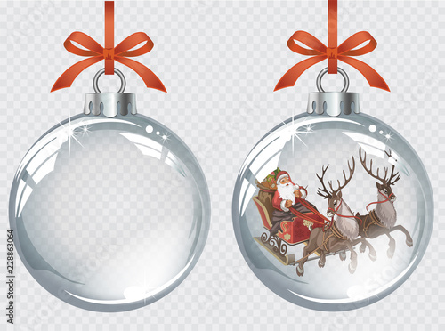 Leinwand Poster Vector realistic transparent silver Christmas balls with Santa driving his sleig