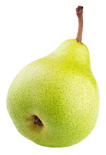 Green Pear Fruit Isolated On White Background With Clipping Path. Full Depth Of Field.