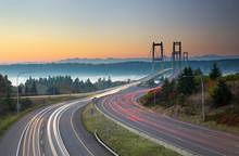 Two Bridges Over Puget Sound, Tacoma Washington; Narrows Bridges