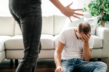 Woman Beating Up His Husband Illustrating Domestic Violence