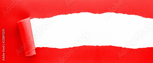 Photo  red ripped paper - XXL-Banner-Format