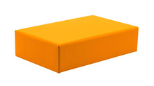 Blank Box Isolated On White Background. Orange Product Package For Your Design. Clipping Paths Object. ( Rectangle Shape )