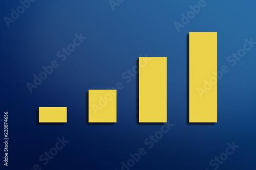 Fotografía  gelbes Balkendiagramm auf blauem Hintergrund