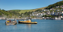 The Ferry At City Of St. Austell Cornwall England Great Brittain. Pushboat Ferry.