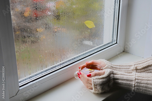 Women's hands in red fingerless gloves hold a cup of hot tea. Woman looks out the window behind which it is raining