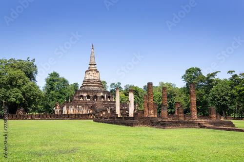 Tuinposter Bedehuis Wat Chang Lom temple in Si Satchanalai Historical Park.