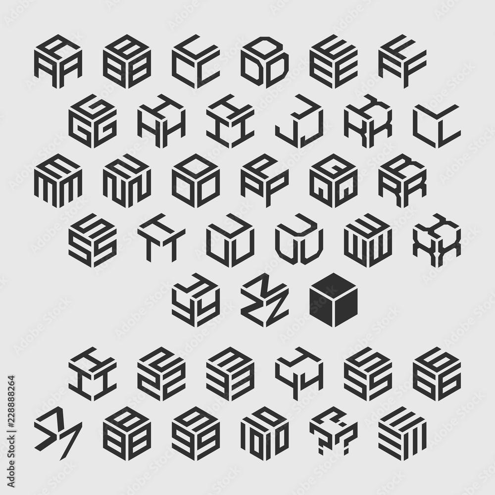 Fototapeta Geometric alphabet with numbers. Vector isometric logos.