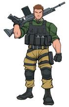 Full-length Illustration Of Soldier Standing Tall, Holding Machine Gun.
