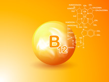 Nutrition Sign Vector Concept. The Power Of Vitamin B12. Chemical Formula