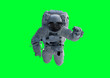 canvas print picture - Astronaut isolated on green background 3D rendering elements of this image furnished by NASA