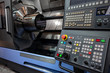 CNC lathe machine at work