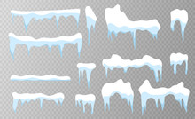 Set Of Snow Icicles On Transparent Background. Snow Elements On Winter Background. Vector Illustration