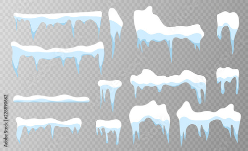Fotomural Set of snow icicles on transparent background