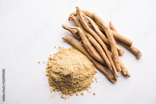 Carta da parati  Ashwagandha / Aswaganda OR Indian Ginseng is an Ayurveda medicine in stem and powder form