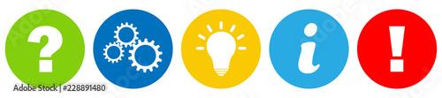 Fototapeta Buttons / Fragezeichen / Zahnrad / Idee / Info / Achtung / Zeichen / Symbol / Einfach obraz