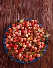 Heap Of Mini Apples On Tray