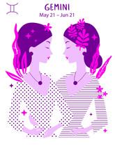 Gemini Zodiac Sign. Girl Vector Illustration. Astrology Zodiac Profile. Astrological Sign As A Beautiful Women. Future Telling, Horoscope, Alchemy, Spirituality, Occultism, Fashion