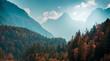 Leinwanddruck Bild - Beautiful mountain landscape with autumn forest. Alpine scenery - Julian Alps