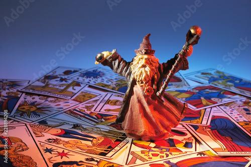 Fotografie, Obraz  Wizard Figurine and Tarot Cards