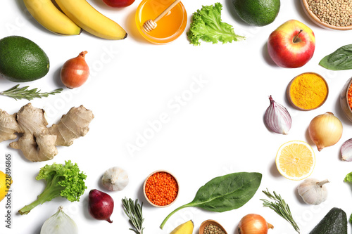 Frame with natural products as home remedies for asthma on white background