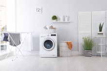 Laundry Room Interior With Was...