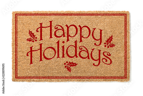 Hy Holidays Christmas Tan Welcome Mat Isolated On White Background