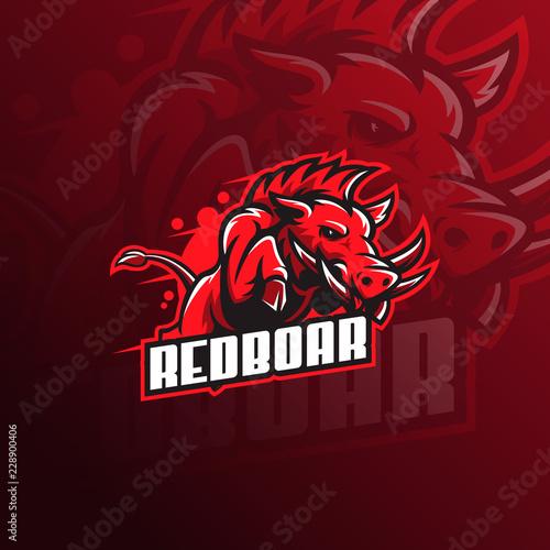 Fotomural Wild hog or boar mascot logo vector illustration