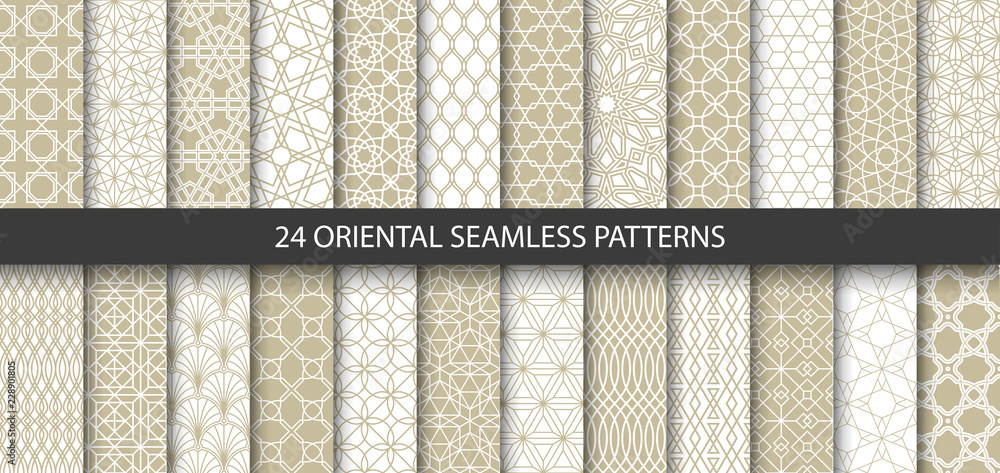 Fototapety, obrazy: Big set of 24 vector ornamental seamless patterns. Collection of geometric patterns in the oriental style. Patterns added to the swatch panel.