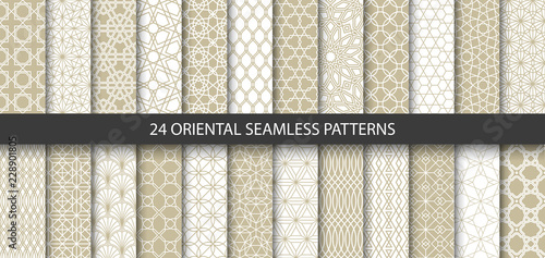 Poster Kunstmatig Big set of 24 vector ornamental seamless patterns. Collection of geometric patterns in the oriental style. Patterns added to the swatch panel.