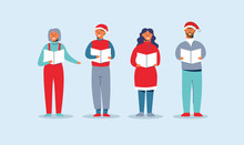 Happy People In Santa Hats Singing Christmas Carols. Winter Holidays Characters. Xmas Singers Caroling Choir Man And Woman. Vector Illustration