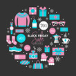 Black Friday sale banner design with shopping icons set
